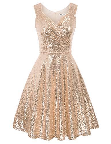 Mujer Vestido Corto Lentejuelas Elegante