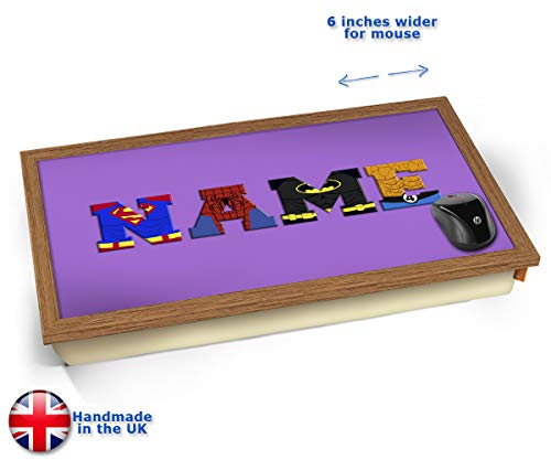 Purple Superhero Personalised Childrens Name Cushioned Bean Bag Laptop Lap Tray Desk - Built-in EMF...