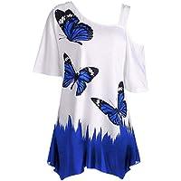 Camiseta de Mujer con Estampado Digital de Primavera y Verano de Mariposa con Correa de Hombro única para Mujer