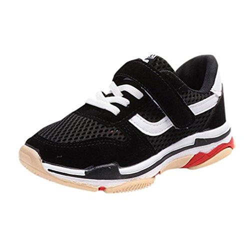 FNKDOR Turnschuhe Jungen Mädchen Sport Schuhe Kinderschuhe Sneaker Laufschuhe Wanderschuhe Unisex Kinder (32, Schwarz)