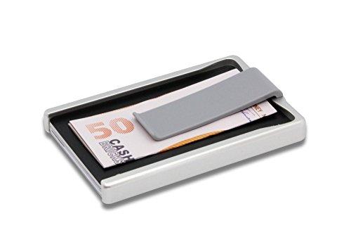 U1 Smart Aluminium Design Slim Wallet   Kreditkartenhalter mit Geldspange   Faire Produktion - Made in Austria   Anti-Kratz-Beschichtung   Platz für 1 bis 9 Karten   Minimalistische Geldbörse   SILBER -