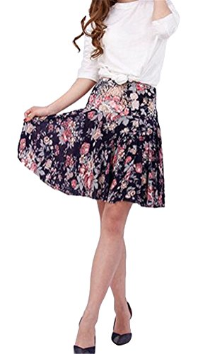Ghope Femme Fille R¨¦tro Jupe Imprim¨¦e Midi Jupe A-line Pli Patineuse Style Vintage Galaxy Floral jupe C