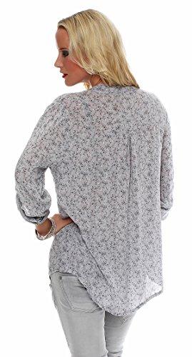 ZARMEXX amende chemise Viskosebluse chemise à manches longues Fischer régulière légère à manches longues en forme blouse d'été tunique tendre floral Gris