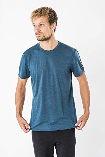 super.natural Herren Kurzarm T-Shirt, Mit Merinowolle, M EVERYDAY TEE, Größe: L, Farbe: Blau meliert