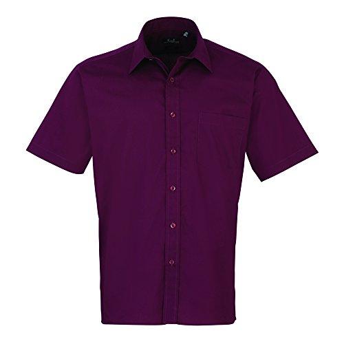 Premier Short sleeve poplin shirt Aubergine