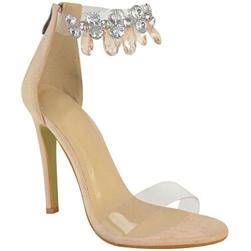 Sandales à talons aiguilles - brides en plexiglas transparent avec bijoux Faux suède couleur chair/mariage