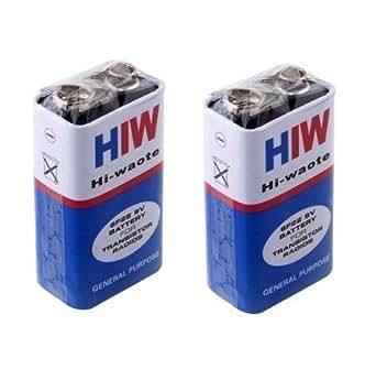 Core Technologies HW Long Life Zinc Carbon Battery, Hi-Watt, 9V, 6F22M, Zinc Carbon, Long Life, General Purpose, Batteries, Set of 4 & 2 Battery Caps Free