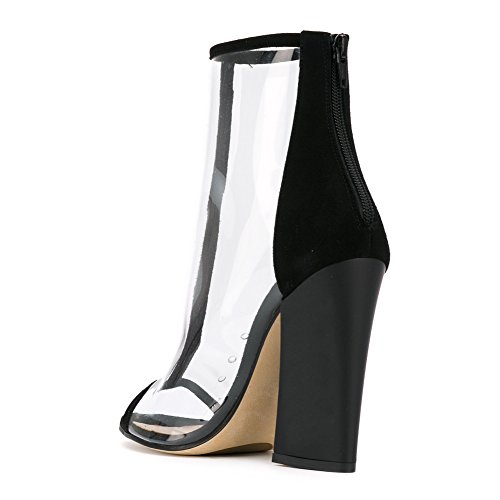 Damen Peep Toe High-Heels Blockabsatz Transparent Sandalen mit Reißverschluss Schwarz