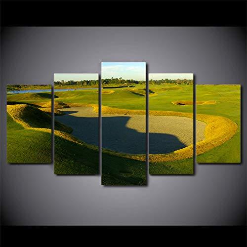hhlwl Modulare Wandkunst Leinwand HD Gedruckt Rahmen Moderne Ölbilder 5 Stücke Golfplatz Malerei Wohnkultur Green Hill Poster-20x35/45/55cm-frame