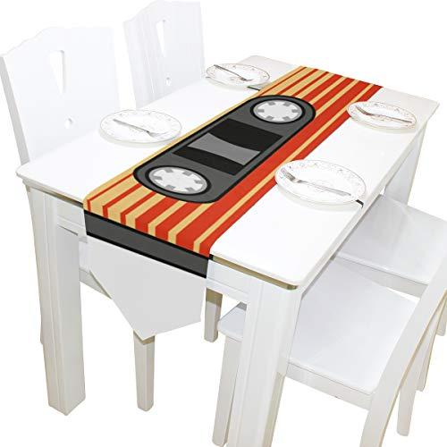 Retro Audio Kassette Music Note Kommode Schal Tuch Abdeckung Tischläufer Tischdecke Tischset Küche Esszimmer Wohnzimmer Home Hochzeitsbankett Decor Indoor 13x90 Zoll