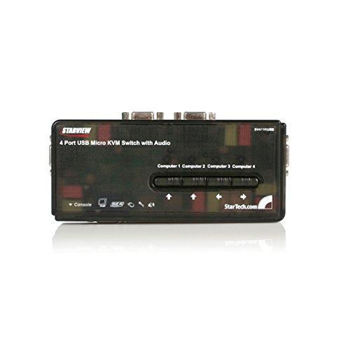 Startech SV411KUSB - Conmutador Switch KVM (4 Puertos VGA, USB 2.0 con Cables y Audio, 5X HD15 Hembra, 2X USB A Hembra, 2048 x 1536)