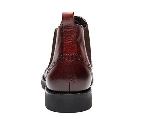 WZG Herren Stiefel wirklich Pima Ding Stiefel britische männliche Hülse Lederschuhe erste Schicht aus Leder Stiefel zeigte beiläufige Schuhe 9,5 wine red