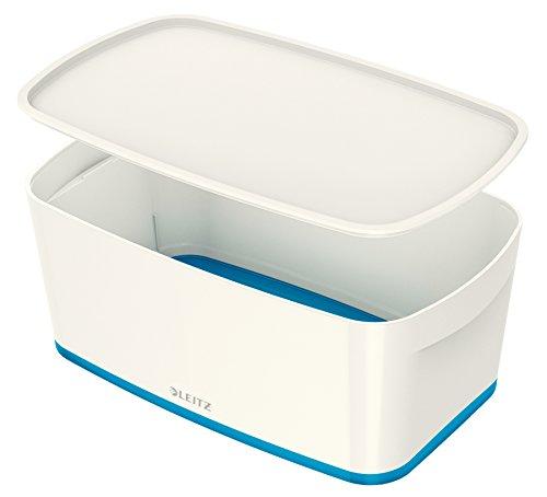 Leitz MyBox, Aufbewahrungsbox mit Deckel, Klein, Blickdicht, Weiß/Blau Metallic, Kunststoff, 52291036 Hochglanz-aufbewahrungsbox