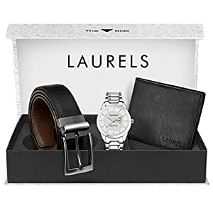 Laurels Day and Date Function Analogue Silver Dial Men's Watch, Leather Wallet and Black-Brown Reversible Belt Combo Pack
