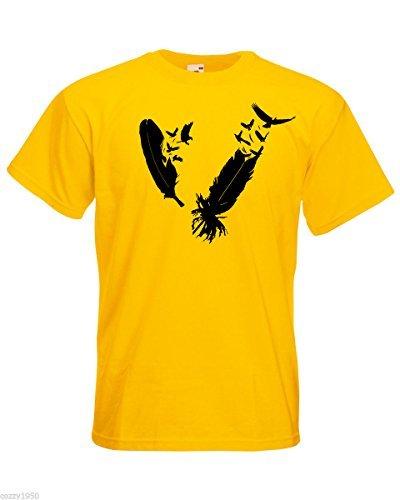 Mens T-Shirt with Birds Feathers Design / Bird Plume Shirts / Eagle Nib Tee Shirt / Flock of Birds TShirt + Free Random Decal Gift