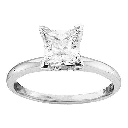 Damen-Verlobungsring 14 kt Weißgold Prinzessin Diamant Solitär Brautschmuck Verlobungsring 3/8 Karat