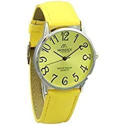 Unisex Silver Plated Mondex / Azaza / MABZ PU Leather Strap Watch (Yellow Strap With Yellow Dial)