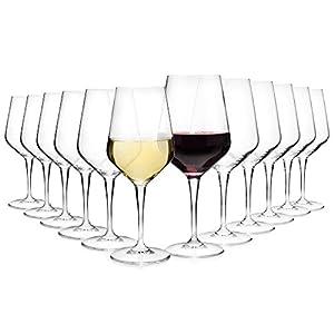 Bormioli Weingläser Set 'Electra' 12 teilig | Gastronomiequalität | Füllmenge Rotweinglas 55 cl | Füllmenge Weissweinglas 44 cl | Perfekte Brillianz dank Star Glass Technologie (12er Weiss- & Rotwein)