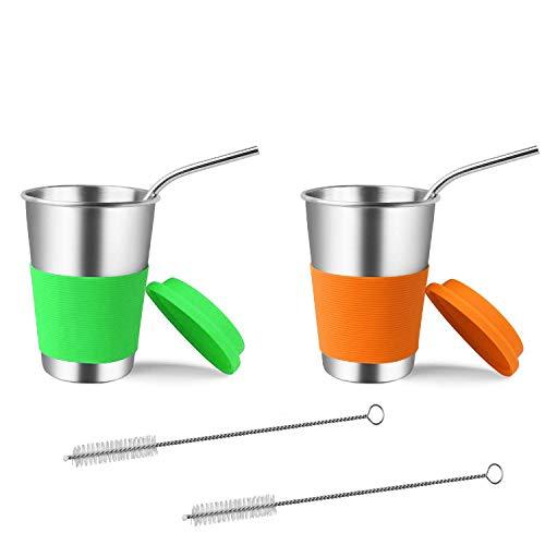 ahlbecher mit Silikondeckeln und Strohhalmen, 2er-Pack 500ml Trinkbecher Becher BPA-frei für kalte oder heiße Getränke ()