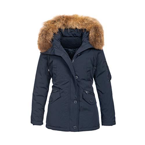 Elara Damen Winterparka | Jacke mit Echt Fell/Echt Pelz Kapuze | Designer Winterjacke | Chunkyrayan 1850 Navy 36/S (Echte Pelz-mäntel Für Frauen)