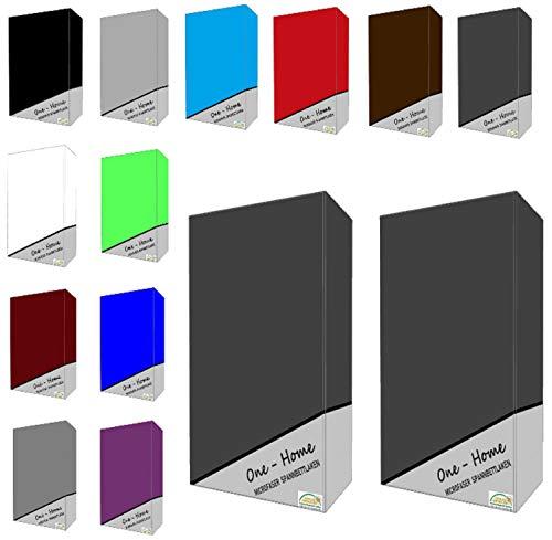 one-home 2er Pack Microfaser Spannbettlaken Spannbetttuch Betttuch mit Rundumgummi Set