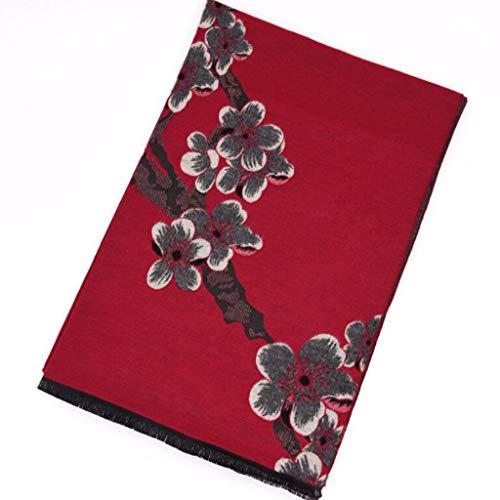 CCF Neue Damen Wachspflaume Dicke warme doppelseitige Pflaume Blume Imitation Cashmere Schal V (Farbe : F)