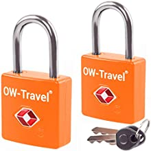TSA Approved Luggage Locks Padlocks (2 Pack) OW-Travel Suitcase Locks with Keys. Heavy Duty Zinc Alloy Suitcase Padlocks with Key Lock for Luggage, Bag, Case, Backpack, Rucksack, Gym Locker (Orange)