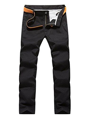 Pantalon Homme En Coton Coup Droit tissu Confortable Pantalon Chino Business Noir