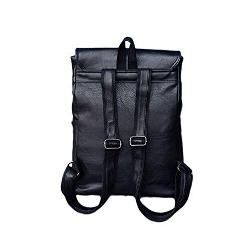 YFbear Retro PU-Leder Vintage Rucksack Wanderrucksack Hiking Backpack Damen Herren Schultertasche PU Rucksack Für Camping Reise und iPhone, iPad und Samsung Tablet (braun) schwarz