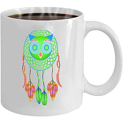 Taza - Taza de café - Regalos- 11oz Taza de té blanco atrapasueños búho decorativo plumas de colores La mitad