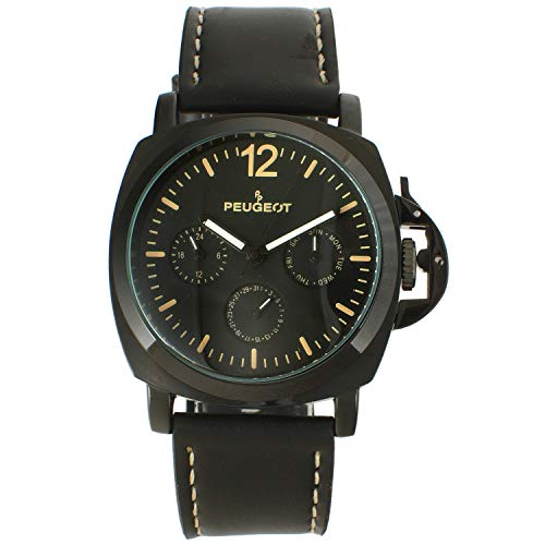 Peugeot Men's All Black Multi-Function Sport Watch Black Leather Band 2056BK