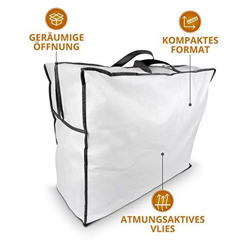 Aufbewahrungstasche für Bettdecken und Kissen, Trage-Tasche für Bettzeug oder Matratzenauflagen, handliche Reißverschluss-Box aus Vlies in 60cm x 50cm x 25cm -