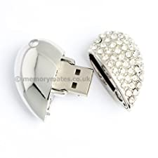 2GB Diamond Heart – Silver – Novelty USB Flash Drive/Memory Stick/Pen/Gift/Present/Stocking