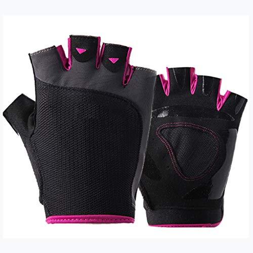 Mitten Fitness-Halbfingerhandschuhe Rutschfestes Handgelenkstraining Yoga-Praxis Kansa (Color : Black pink, Size : M)