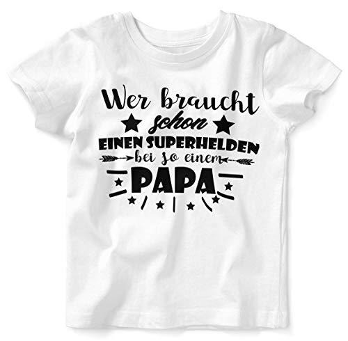 Mikalino Baby/Kinder T-Shirt mit Spruch für Jungen Mädchen Unisex Kurzarm Wer braucht Schon einen Superhelden?   handbedruckt in Deutschland   Handmade with Love, Farbe:Weiss, Grösse:92/98