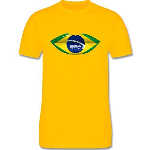 Länder - Lippen Bodypaint Brasilien - Herren Premium T-Shirt Gelb