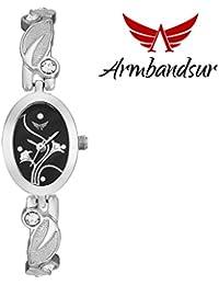 Armbandsur silver strap black dial watch- ABS0050GSS