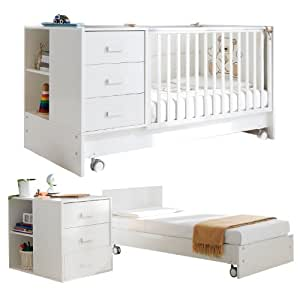 pali kinderbett umbaubar zum jugendbett juniorbett mit nachtschrank zoom wei baby. Black Bedroom Furniture Sets. Home Design Ideas