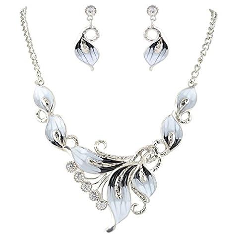 EVER FAITH® Orchid österreichische Kristall schwarz Schmelz Halskette Ohrring Set N00178-2