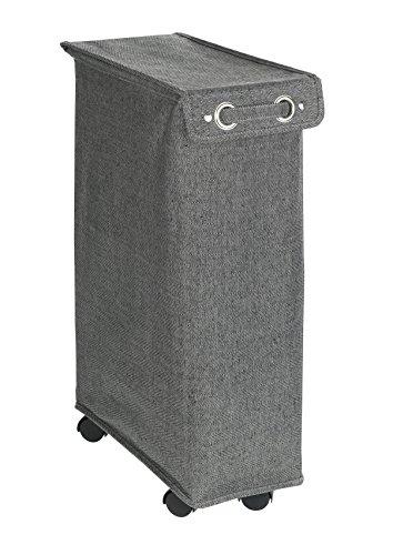 Wenko Corno Prime Color Blanco Cubo de lavandería Cesto con Tapa Capacidad 43L, poliéster, Negro, 40x 18x 60cm