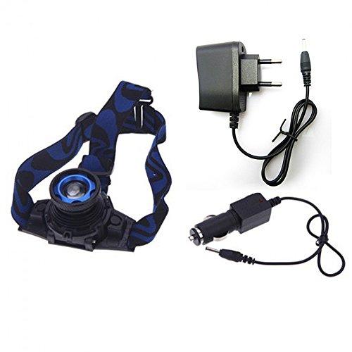 Hrph Headlamp Lampe Frontale CREE Q5 Phare Rechargeable Eblouissement + Chargeur de Voiture + Adaptateur d\'Alimentation (Plug EU)