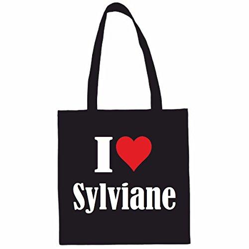 Sac à Bandoulière I Love Sylviane Shopping Bag Sac d'école Sac de Sport 38x 42cm en Noir ou Blanc.. Le cadeau parfait pour votre amoureux
