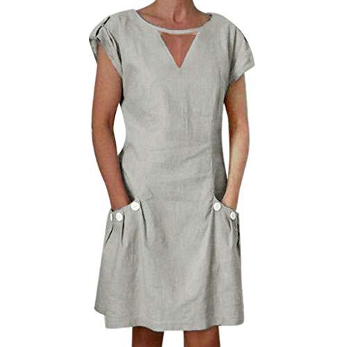URIBAKY Leinenkleider Damen Sommerkleid Strandkleid,Kleider-Knielang Rock,Elegant T-Shirtkleid Kurzarm Lose Feste gekräuselte Taschen O-Ansatz verschieben (Medium, Khaki) - Grüne Erde Textilien