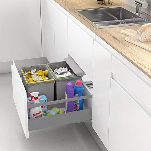 Casaenorden - Cubos de Basura y Reciclaje con Tapa automática para cajón de Cocina - 16L + 16L