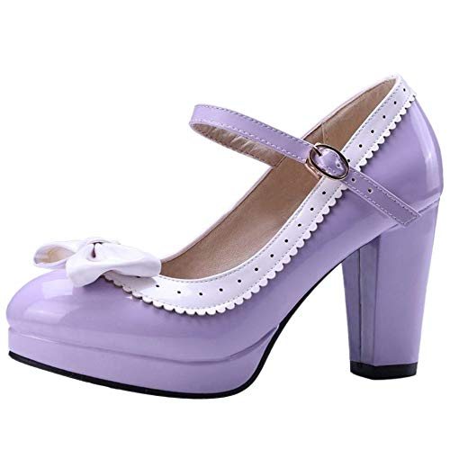 ELEEMEE Mujer Moda Bombas Zapatos Lazos Al Tobillo Mary Jane...
