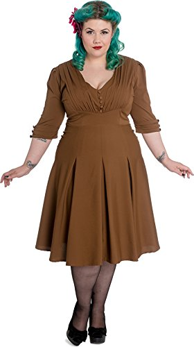 Hell Bunny JUNE 40s Vintage 3/4 Arm V-Neck DRESS / Kleid - Tobacco Plus Size Roc Tobacco (Mittleres Braun)