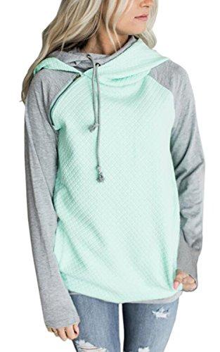 ECOWISH Damen Kontrastfarbe Pulli Pullover Rollkragen Sweatshirt Kapuzenpulli Top Hoodies Grün S (Hipster Weiche Super)