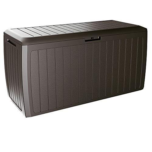 Deuba Baúl de Almacenamiento Board Plus marrón para Exterior e Interior arcón de almacenaje Accesorios...