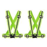 QH-shop Warnweste Einstellbare Reflektorweste für Kinder und Erwachsene Läufer Jogger Spaziergänger Radfahrer 2 Pack