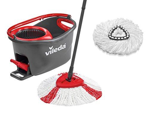 Vileda Turbo EasyWring & Clean Komplett-Set, Wischmop und Eimer sowie extra Classic Ersatzkopf